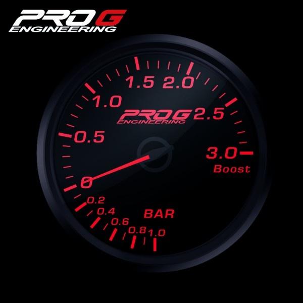 Přídavný budík Pro G Race Series RC tlak turba ČERVENÝ 60mm