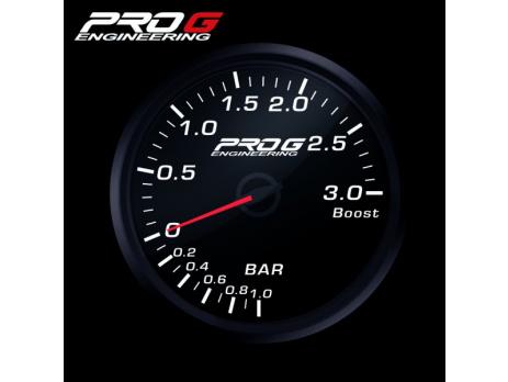 Přídavný budík Pro G Race Series RC tlak turba BÍLÝ 52mm